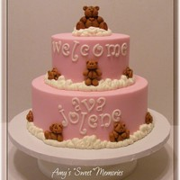 Precious In Pink 6 & 9 covered in buttercream with fondant letters and bears