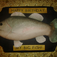 """big Fish"" A birthday cake for a friend. The fish is Rice Krispie Treat covered in fondant. Thanks everyone on CakeCentral for your ideas and..."