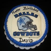 "Dallas Cowboys Fan Birthday This is a 8"" round red velvet cake with cream cheese icing (I can not stand working with it.....taste great but very soft)...lol. I..."