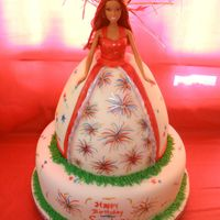 4Th Of July Barbie Cake With Hand Painted Fireworks, And Shooting Stars The cake is all butter...the barbie skirt has red, white, and blue icing inbetween its layers. The bottom tier has red cake, white cake,...