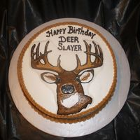 "Oh Deer, Oh Deer   This is a 12"" marble cake covered in bc with a bc transfer of a deer head."