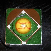 Girls Softball Cake This cakes base is a 16x16x2 butter cake with Chocolate frosting, the second tier is a 4 layer chocolate cake with vanilla buttercreme...