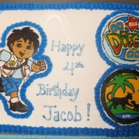 Go Diego Go Cake   This is a strawberry cake with bc frosting and a bc transfer. Thanks for looking