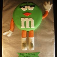 "Miss M&m 3D Birthday Cake This is a 12"" chocolate cake with bc filling. Covered in white chocolate mmf. The legs, boots, arms and hands are all rice crispy..."