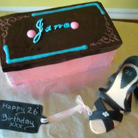 Shoe And Shoebox Cake:) Phew! this was a toughy for me! Cake is WASC filled/iced with Raspberry flavoured SMBC, lid is Michelle Fosters fondant and my terrible...