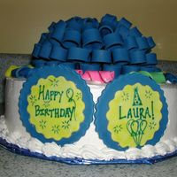 Dh010072.jpg This is a birthday cake I did for a friend. Bow and confetti are 50/50 gumpaste and fondant
