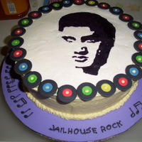 Elvis Cake Client cake. My first frozen buttercream transfer. Handmade records, piped musical notes and song titles.