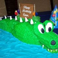 Evan's Gator  This year Evan wanted an alligator birthday cake. Now, I know that gator's don't have spikes but the one on his party decorations...