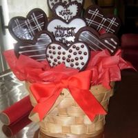 Valentine Cooke Bouquet Dark Chocolate sugar cookies. I ended up doing fifteen of these! It was a lot of work!