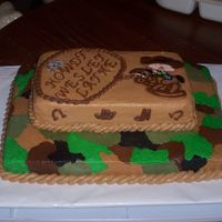 Western Baby Shower Mother wanted a camo/western theme. This was white cake with bc icing. FBCT for cowboy on pony.