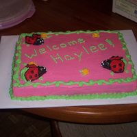 Ladybug Baby Shower   Pina Colada cake with cream cheese icing.