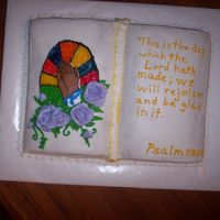 High Attendance Sunday Book cake..1 side white w/pineapple filling, other side chocolate w/choclate filling. FBCT & gels.