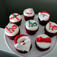 Santa Cupcakes These cupcakes were made to take to a Christmas party, and were inspired by a Bakerella design. They were red velvet cupcakes frosted with...