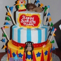 Circus Birthday Cake 10,8,6 inch cakes buttercream frosted with fondant accents and 50/50 fondant gumpaste figures.