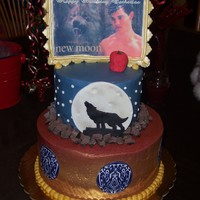 New Moon Birthday Cake Made this for my 7 year old niece's birthday. She is a huge twilight fan. Chocolate cake with Raspberry buttercream filling. Edible...