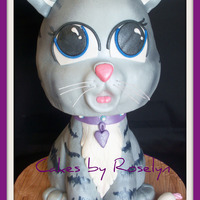 Kitten  made for a little girl who jest got a cute little tabby kitten for her birthday head is cake body is RKT covered in mmf thanks for looking...