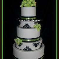 Black And White Hydrangea  black white and apple green wedding cake, damask print is done with a stencil and royal icing. hydrangeas are gumpaste. thanks for looking...