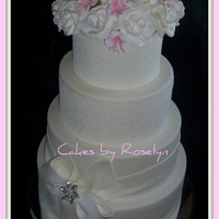 Lace Wedding Cake   lace is edible made from sugarvail flowers are gumpaste thanks for looking