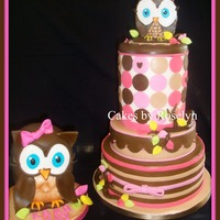 Look Hoos Turning One first birthday cake made to match the party decor. all fondant thanks for looking