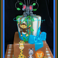 Animal Baby Shower cake made for a baby shower made to match the invites all fondant thanks for looking