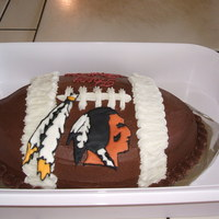 Football Cake Chocolate cake with colorflow emblem for a friend's birthday.