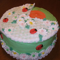 Ladybug Baby Shower Cake Marble cake with buttercream frosting and royal icing daisies. Buttercream basketweave. Color flow ladybugs and babyface. As you can see, I...