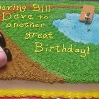 Tractor & Fishing Cake A birthday cake for a family's brother & father. the little man fishing is made completely of icing & he's holding a...