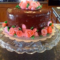 Strawberry Drizzle Cake With Ribbon Roses Party cake--only my drizzle drizzled a little too much! The bumps are chocolate chips, but my friends thought they were cut polka dots! The...