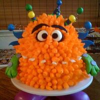 "Monster!  Monsters are fun! This was for a 5-year-olds b-day. New craze: photos from Oriental Trading for inspiration. Cake body was 2 9"" layers..."
