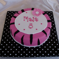 Pink Zebra Zebra pattern and flower for a girl's 8th birthday. All MMF.