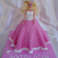 Pink Barbie Pink and white barbie cake
