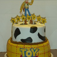 Braxton's Toy Story I found a similar cake on CC. Sorry I can't remember who it belonged to so I can give credit. :{ Woody is a bendable figurine that I...