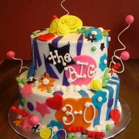 The Big 3-0   Iced in buttercream with fondant accessories.