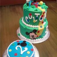 Mickey Mouse Clubhouse   Iced in buttercream with fondant accessories... Clubhouse is gumpaste.