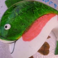 Fishing For Trout   fondant covered with handpainted details-very fun to do