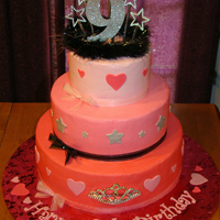 Birthday Cake   Buttercream w/MMF accents. Tiara on bottom tier...boah and stars on top. Birthday girl designed cake.