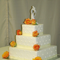 My 1St Wedding Cake   All buttercream w/sheer ribbon border and real roses