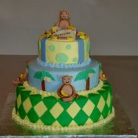 Monkey Cake   Buttercream w/MMF decorations. Gumpaste monkeys. Customer sent me a picture from pinkcakebox...it's their design.