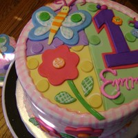 Emma's 1St Birthday Cake! All MMF to match plates used at party