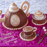 Tea Pot Cake Chocolate cake, Chocolate truffle frosting and Gumpaste decorations