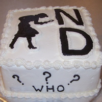Nancy Drew White cake iced with vanilla butter cream icing. Silhouette and ND are FBCT.