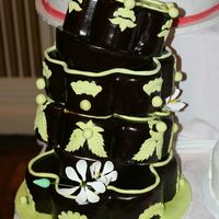Falling Chocolate And Green Petal