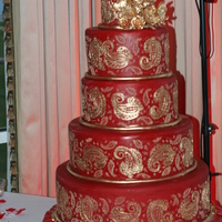 Red Paisley   Red Paisley Cake with Gold Gumpaste flowers for a college NSMH friend of mine