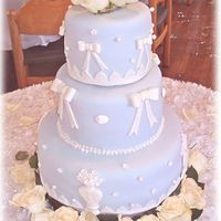 Blue And White Fondant This cake was crazy to set up. I only had 30 minutes to get 9it set up. On the 1/2 hour drive to the venue, the cake faded from lavender to...