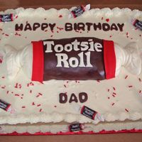 Tootsie Roll Sheet Cake We did this as an alternative to a sculptured cake. They originally wanted a tootsie roll, but did not want to pay the sculptured cake...