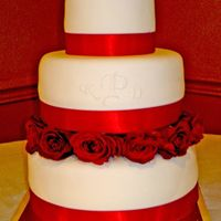 Monogram And Red Roses This was a small simple cake; monogram was using the pin prick method (that is where you put a template over the cake of the monogram, pin...