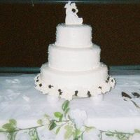 "Pearls On A Wedding Cake The full tablescape of my pearl Wedding cake. 16"", 12"", 8"" all marble. BC icing with fondant pearls dusted luster dust. Silk..."