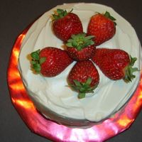 "Diabetic Cake With Strawberries 6"" vanilla cake (used the new Vanilla 1/2 Sugar Cake mix) topped with Diabetic icing from the recipe section here. Layered Filling..."
