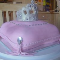 Princess Pillow Crown Tiara Birthday Cake Pillow cake made with fondant and tiara made of a mix of fondant and gum paste.