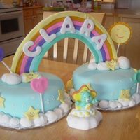 Care Bears Birthday Cake All fondant/gumpaste for Clara's first birthday